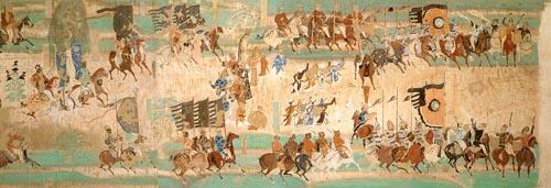 高中历史图片素材:唐朝河西节度使张议潮统军出行图