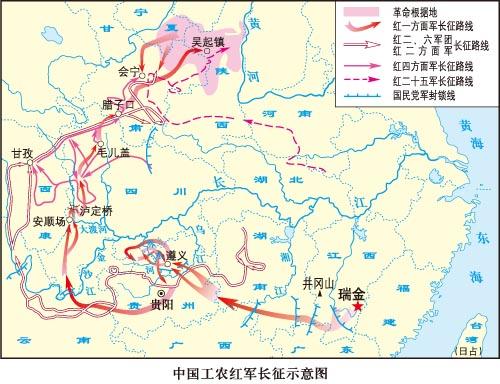 高中历史图片素材:中国工农红军长征示意图