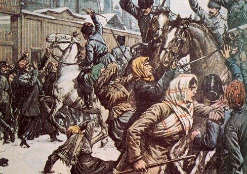 高中历史图片素材:沙皇军警驱赶示威群众