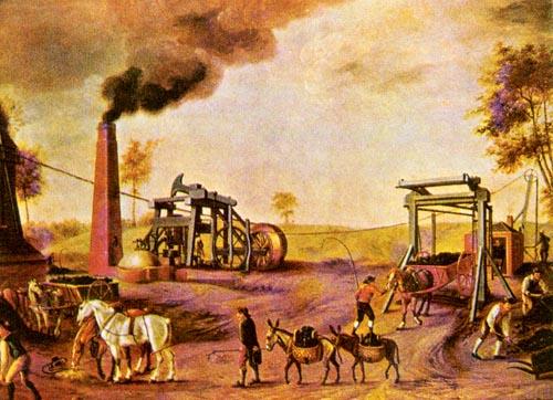 高中历史图片素材:早期使用蒸汽机的煤矿