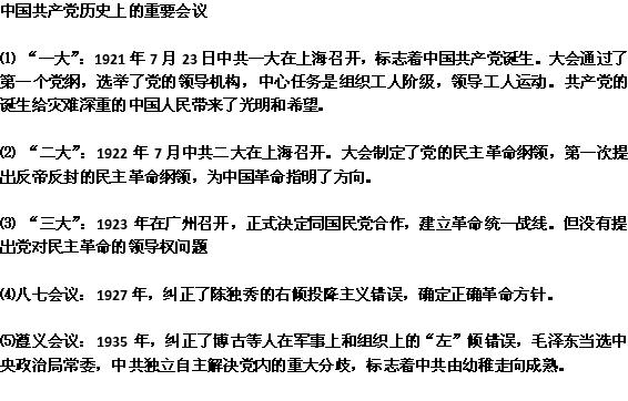 2013高中历史近代史必备知识点:中国共产党历史上的