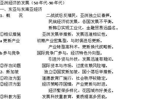 2013高中历史近代史必备知识点:高中历史亚洲