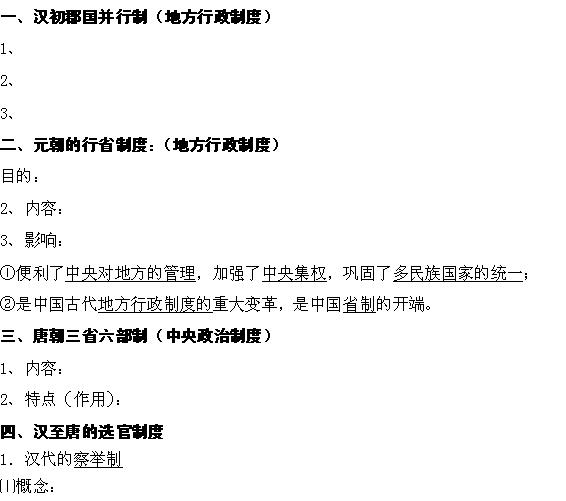 陕西省武乡县第一中学高一历史必修一第3课《汉代到