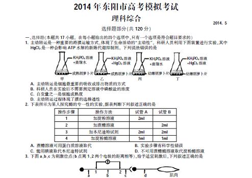 2014东阳高考理综